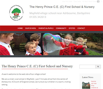 Web portfolio example - Henry Prince School near Ashbourne